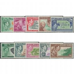 Pitcairn Islands 1940-51 SG1-8 1940-51 Definitive KGVI HMS Bounty and Scenes set of 10